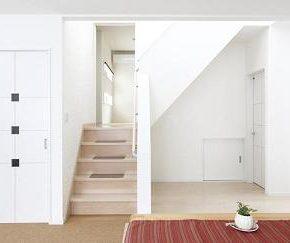 階段を上がると、中2階の和室。右は洗面、浴室。<br /> 右下の白の小扉は半地下へとつながっています。
